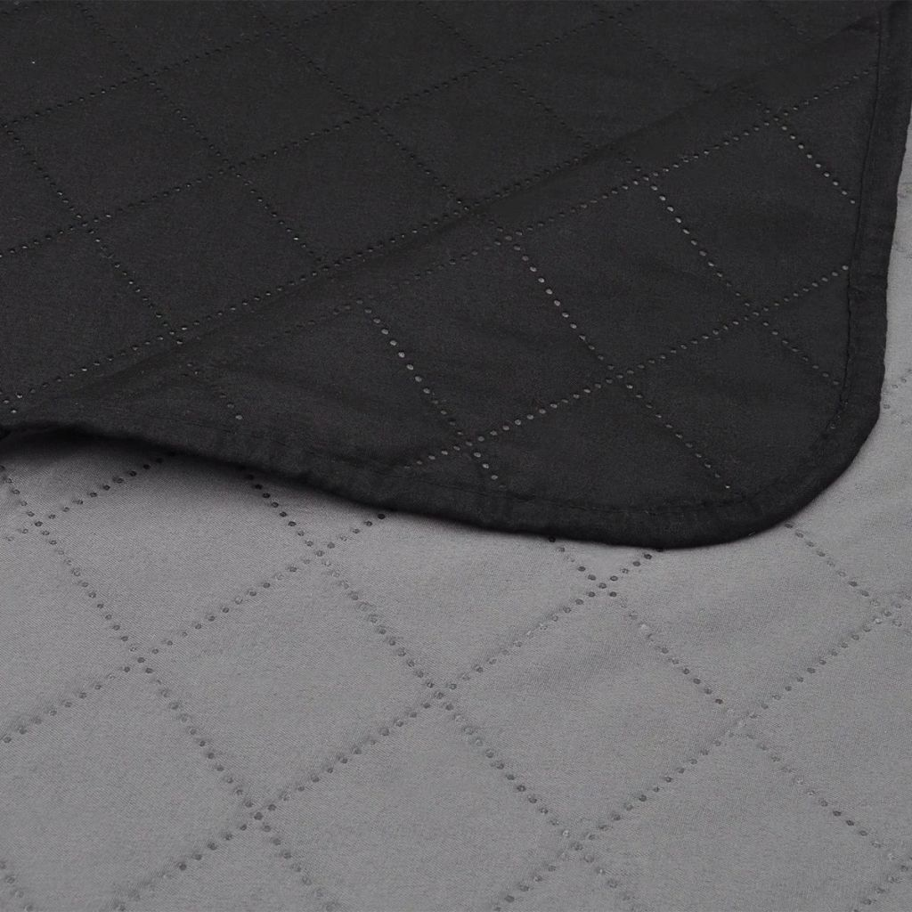 Cuvertură matlasată doua fețe Negru/Gri 220 x 240 cm