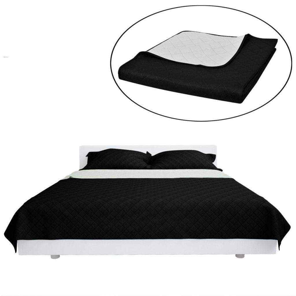 Cuvertură de pat matlasată cu două fețe negru/alb 220 x 240 cm