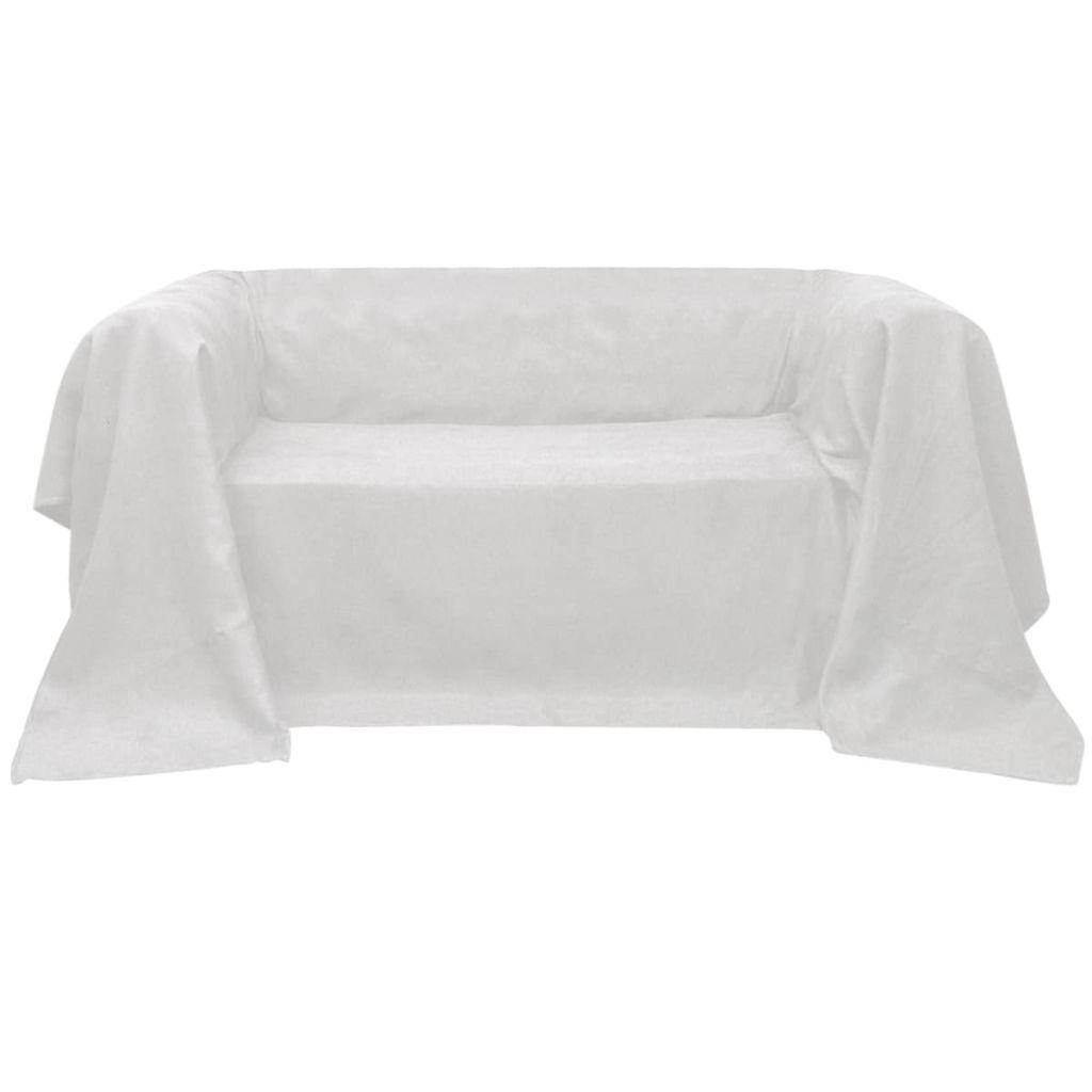 Husă din velur microfibră pentru canapea, 270 x 350 cm, crem