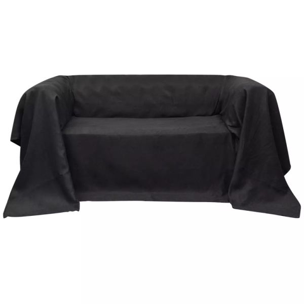 Husă din velur microfibră pentru canapea, 270 x 350 cm, antracit