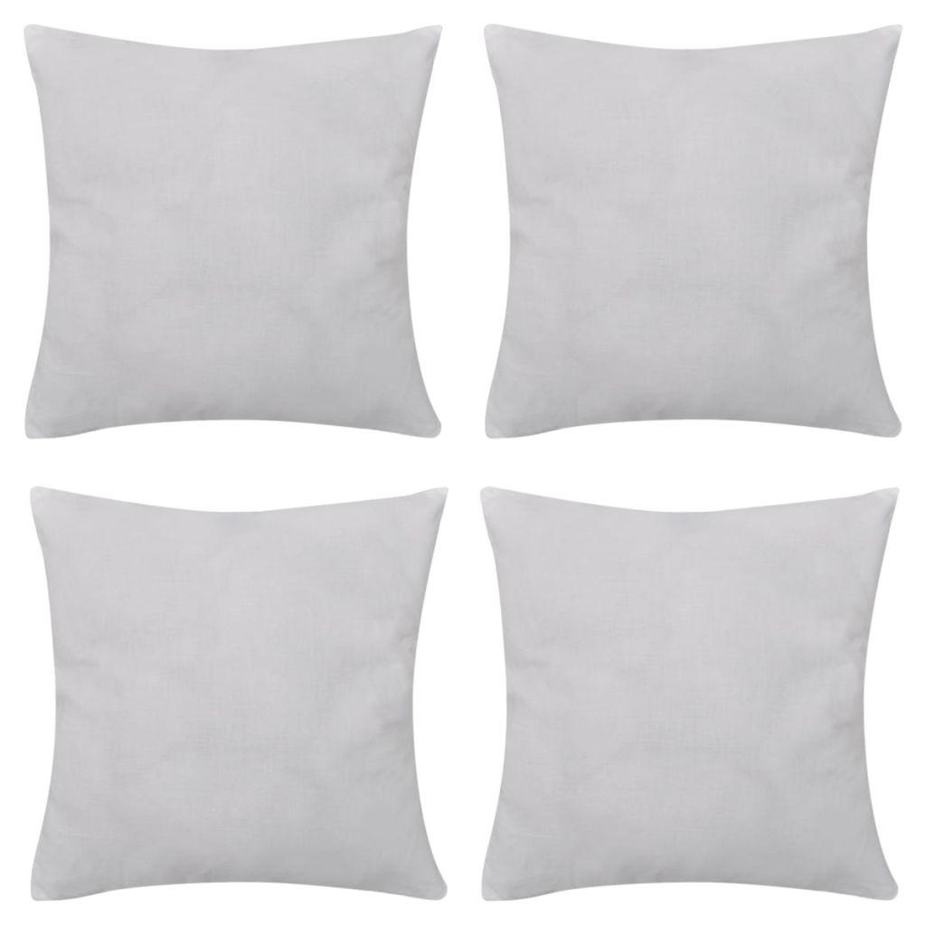 Huse de pernă din bumbac, 50 x 50 cm, alb, 4 buc.