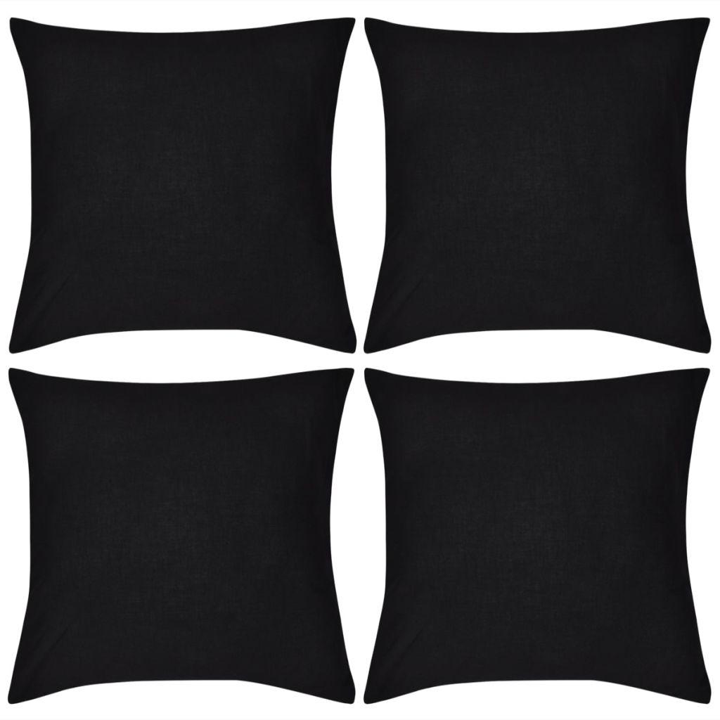 Huse de pernă din bumbac, 80 x 80 cm, negru, 4 buc.