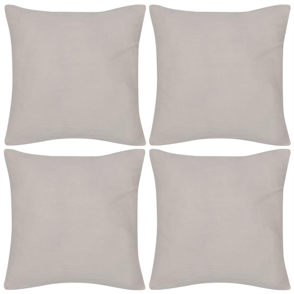 Huse de pernă din bumbac, 40 x 40 cm, bej, 4 buc.