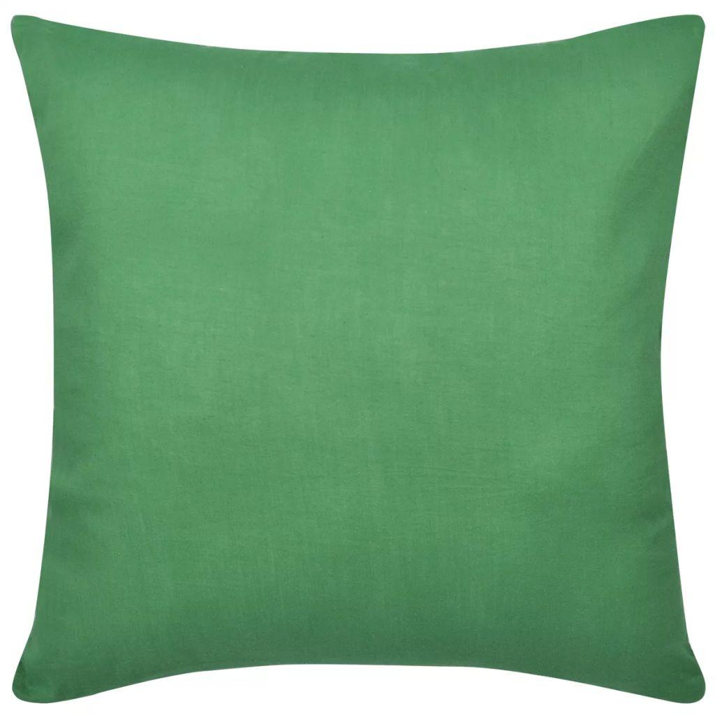 Huse de pernă din bumbac, 80 x 80 cm, verde, 4 buc.
