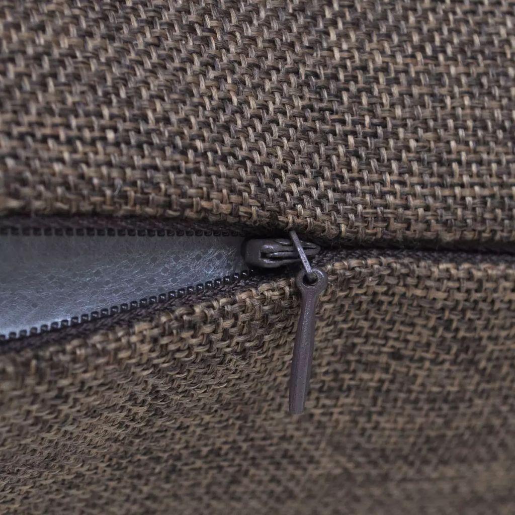Huse de pernă cu aspect de pânză, 40 x 40 cm, maro, 4 buc.
