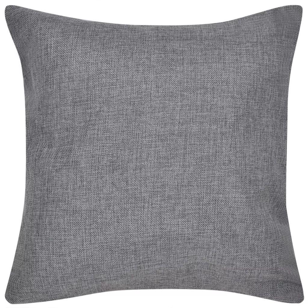 Huse de pernă cu aspect de așternut, 4 buc, 80 x 80 cm, antracit
