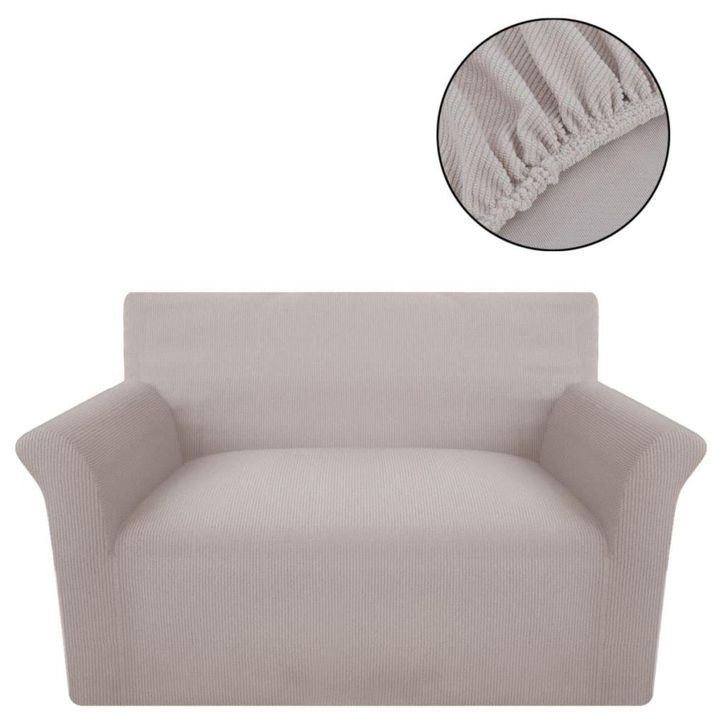 vidaXL Husă elastică pentru canapea din poliester textură striată, bej