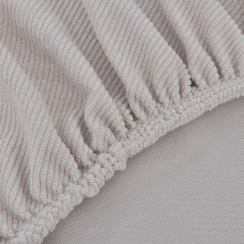 Husă elastică pentru canapea din poliester textură striată, bej