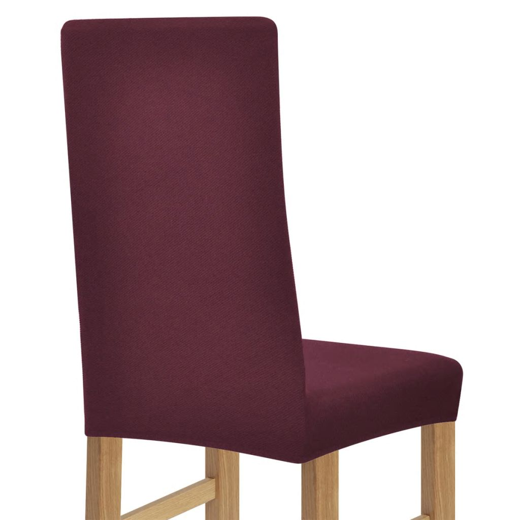 vidaXL Huse elastice pentru scaune din poliester, Burgundy, 6 buc.