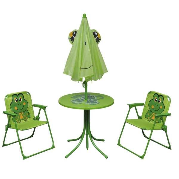 Set bistro pentru copii de grădină, cu umbrelă, 3 piese, verde