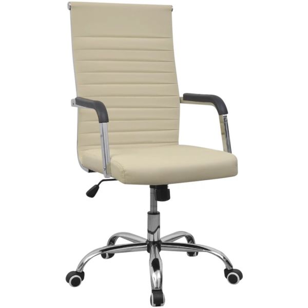 vidaXL Scaun pentru birou din piele artificială 55×63 cm, Crem