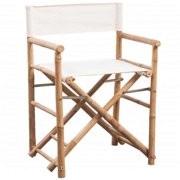 Scaun de regizor pliabil 2 buc. bambus și pânză