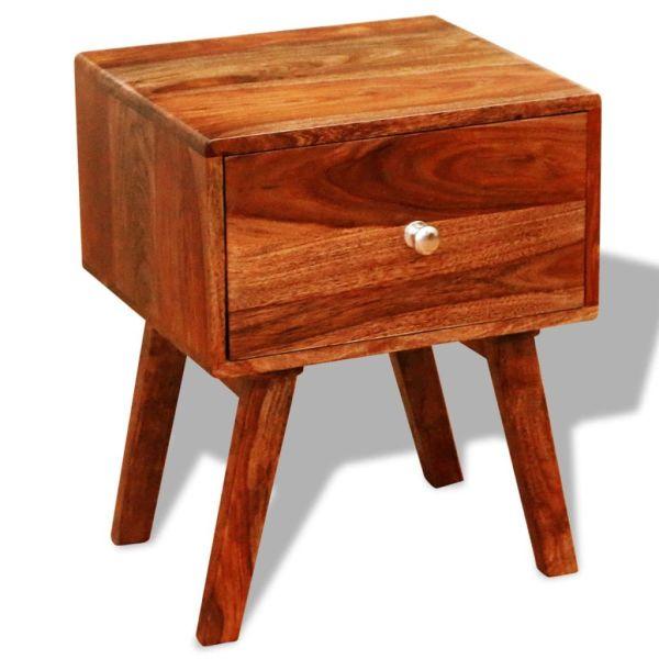 Noptieră cu 1 sertar, 2 buc, 55 cm, lemn masiv de sheesham