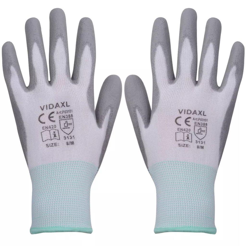 vidaXL Mănuși de protecție PU, mărime 8/M, alb și gri