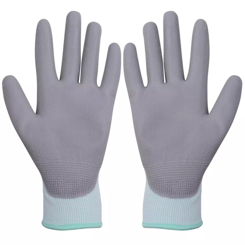 Mănuși de protecție PU, mărime 8/M, alb și gri