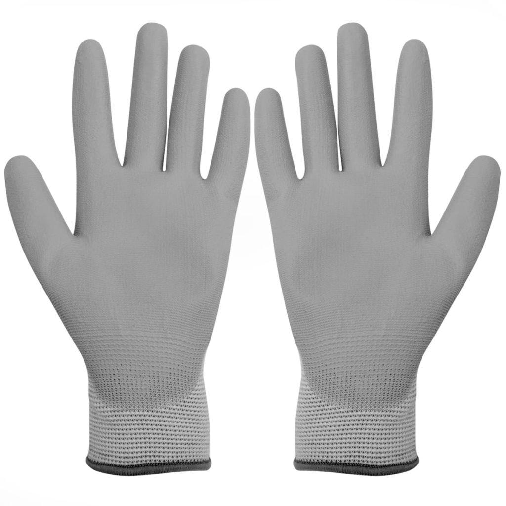 vidaXL Mănuși de lucru poliuretan, 24 perechi, alb și gri, mărime 9/L