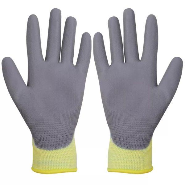 vidaXL Mănuși de protecție PU albe și gri mărimea 10/XL, 24 perechi