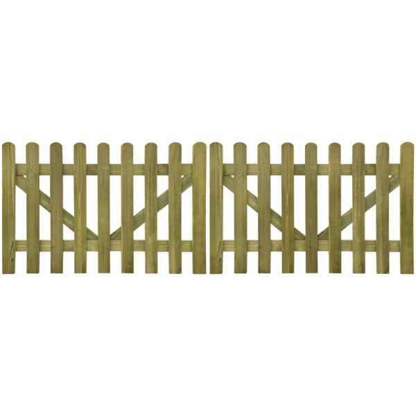 vidaXL Poartă de gard cu scânduri, 2 buc., 300 x 100 cm, lemn tratat