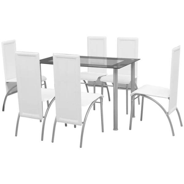 vidaXL Set masă și scaune de bucătărie 7 piese, Alb
