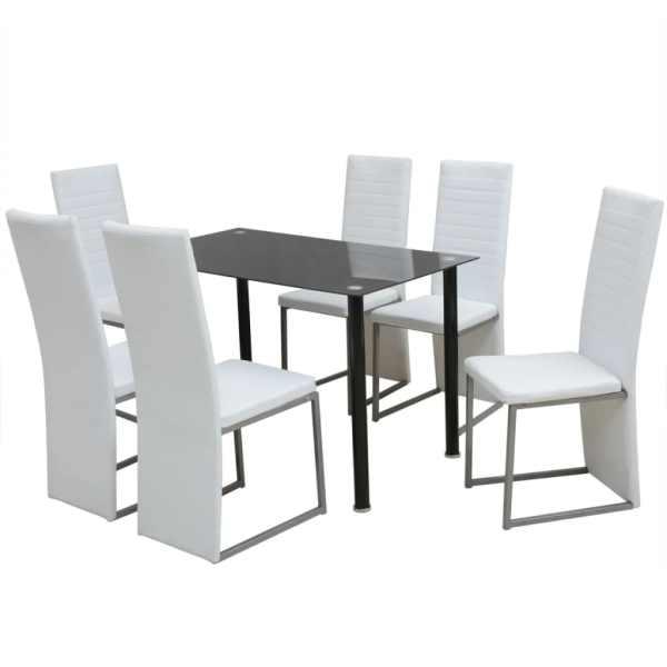vidaXL Set masă și scaune de bucătărie, alb și negru, 7 piese