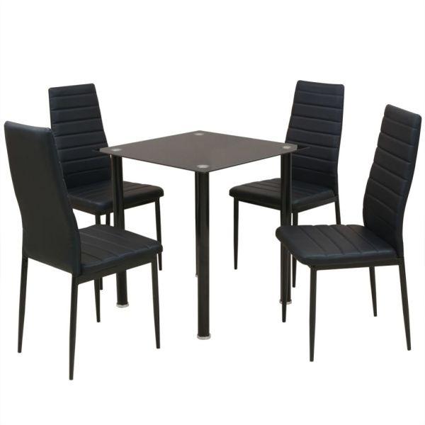 vidaXL Set masă și scaune de bucătărie, 5 piese, negru