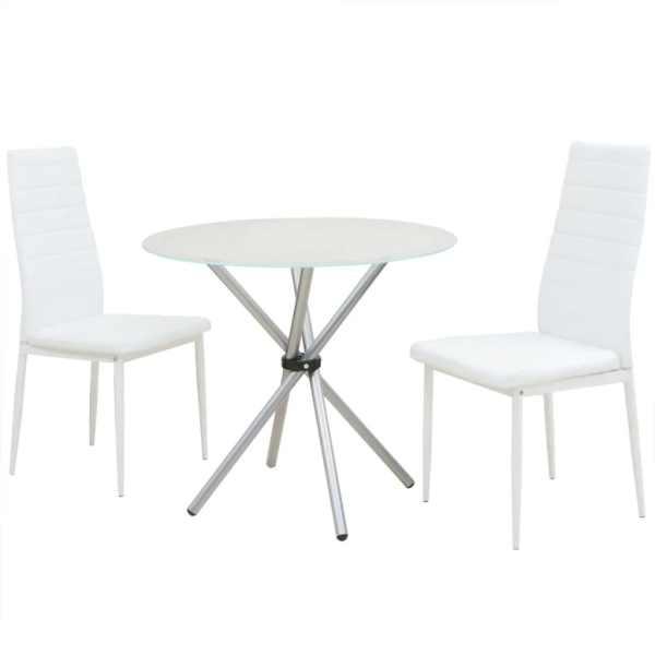 vidaXL Set cu masă și scaune de bucătărie, trei piese