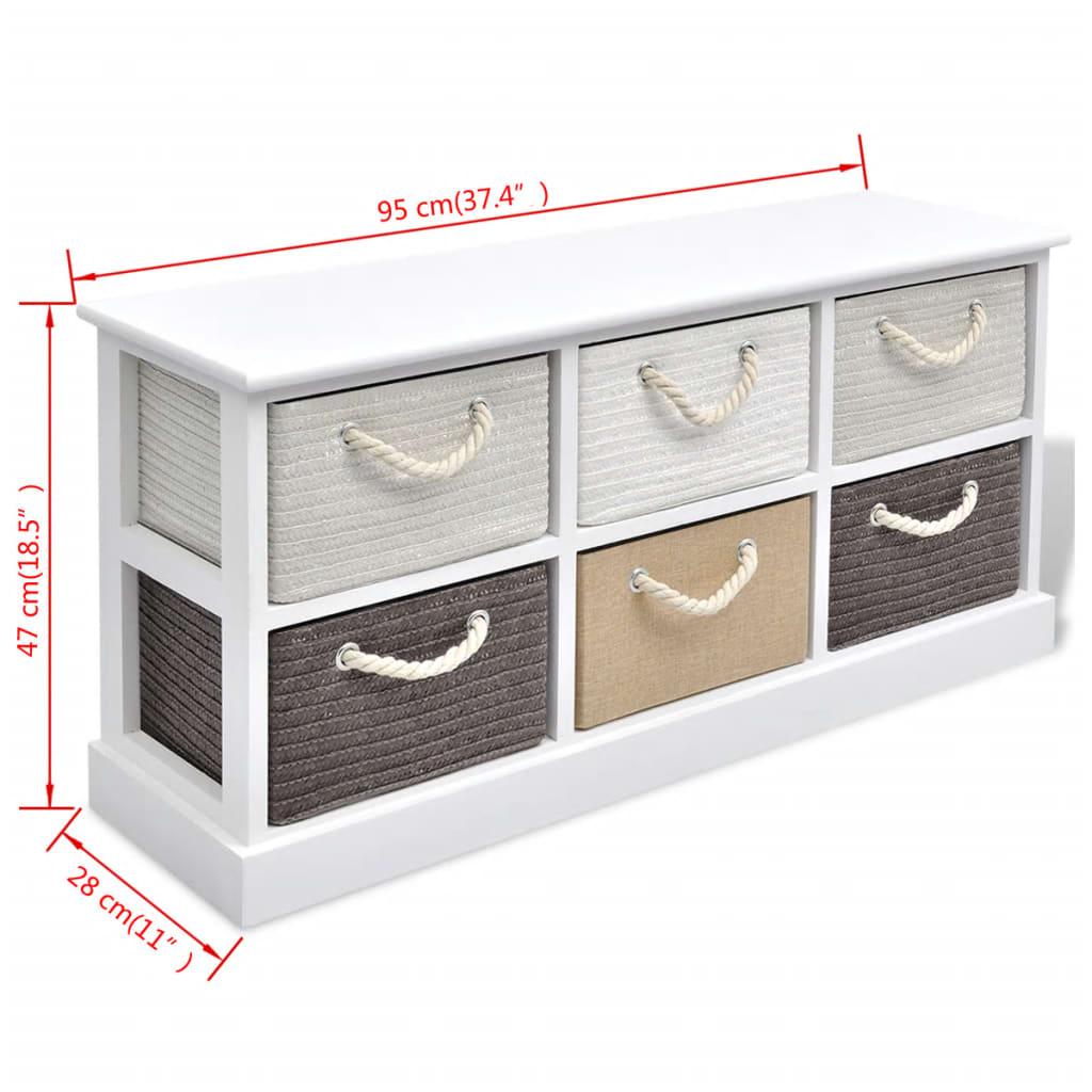 vidaXL Bancă pentru depozitare din lemn cu 6 compartimente