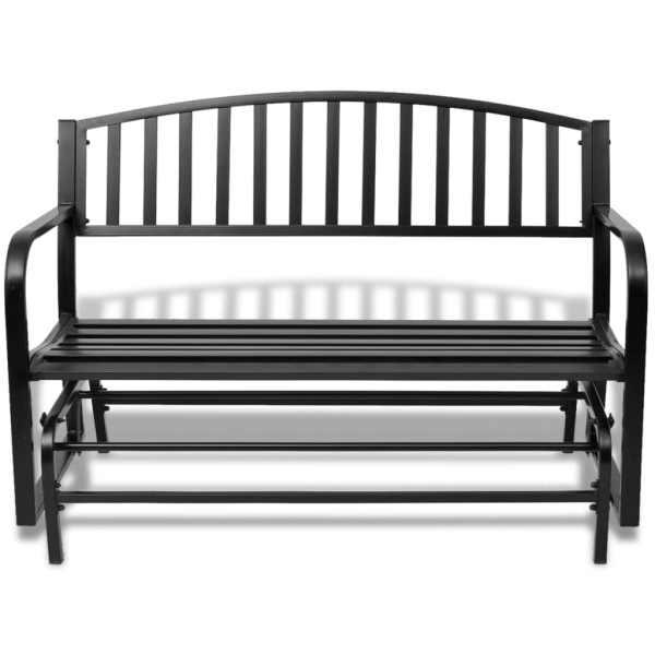 vidaXL Bancă balansoar din oțel, negru
