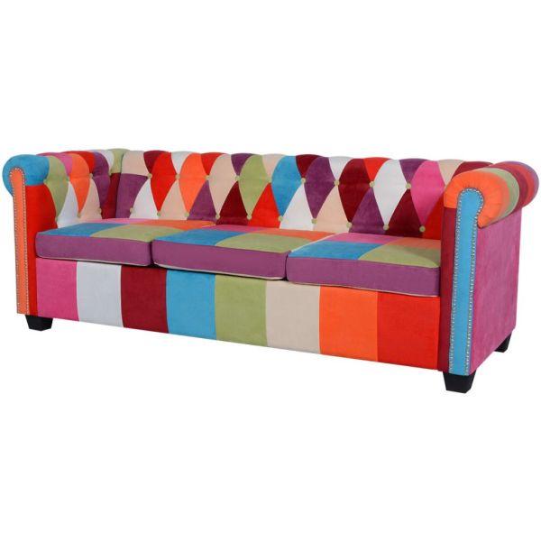 vidaXL Canapea Chesterfield textilă cu 3 locuri