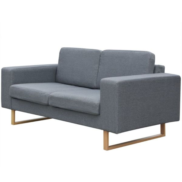 vidaXL Canapea textilă pentru 2 persoane, Gri deschis