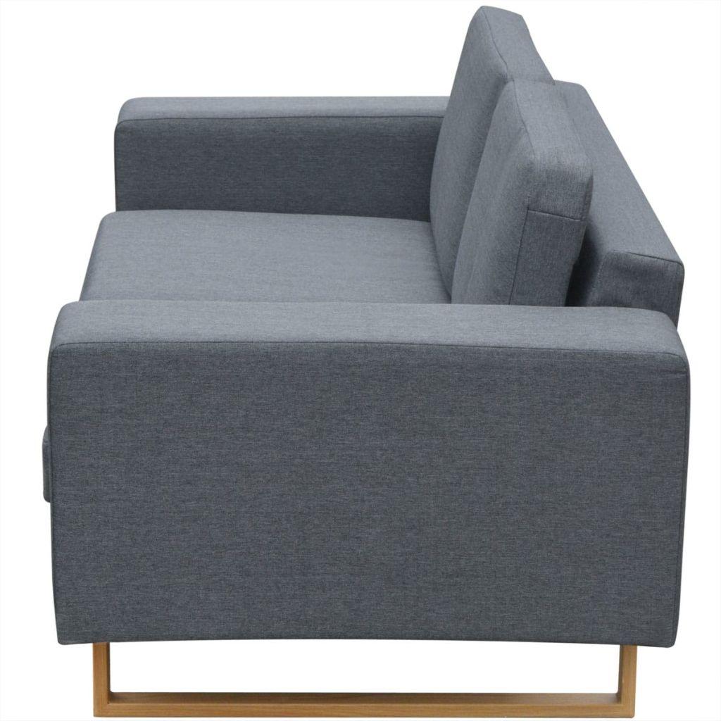 Canapea textilă pentru 2 persoane, Gri deschis