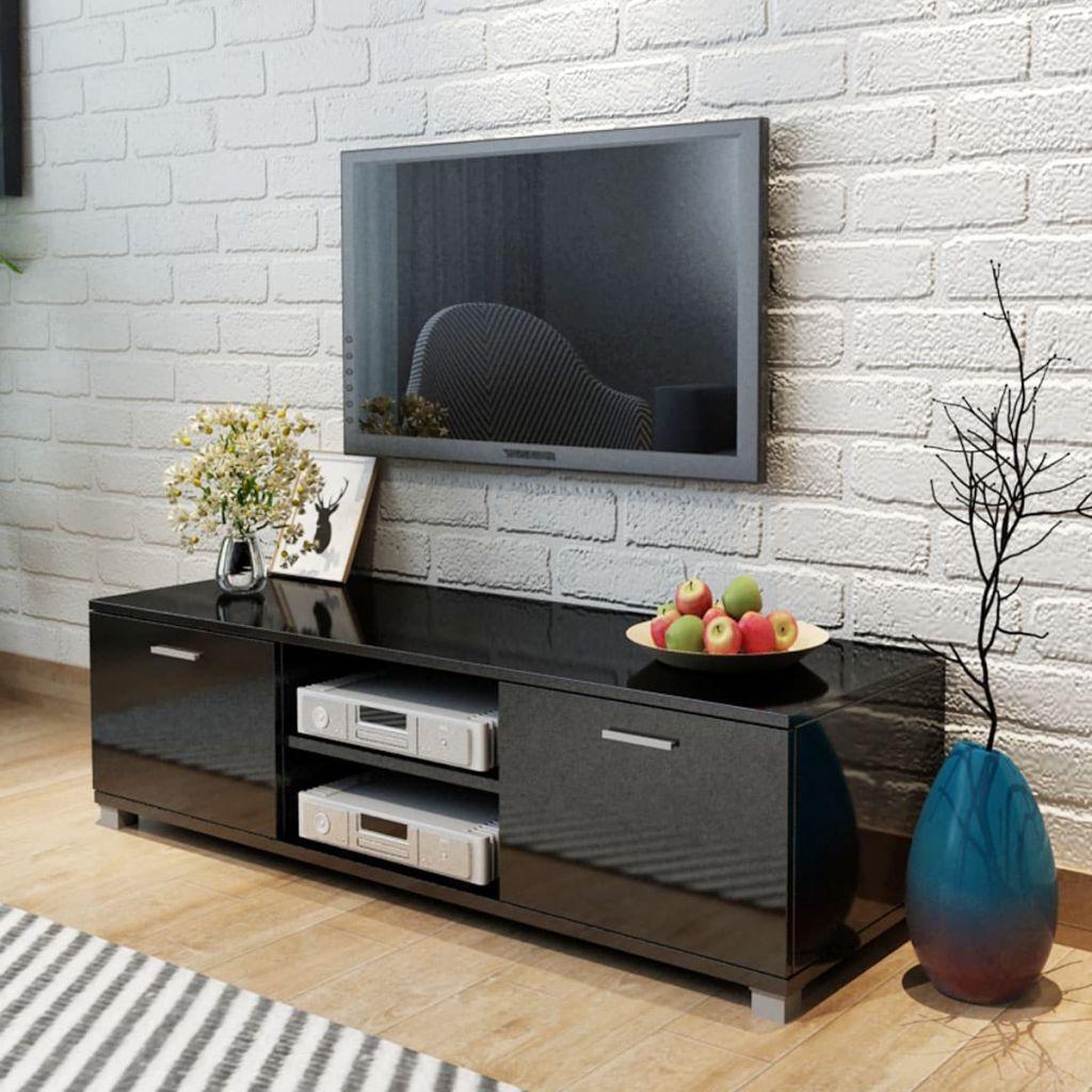 vidaXL Comodă TV, negru extralucios, 140 x 40,3 x 34,7 cm