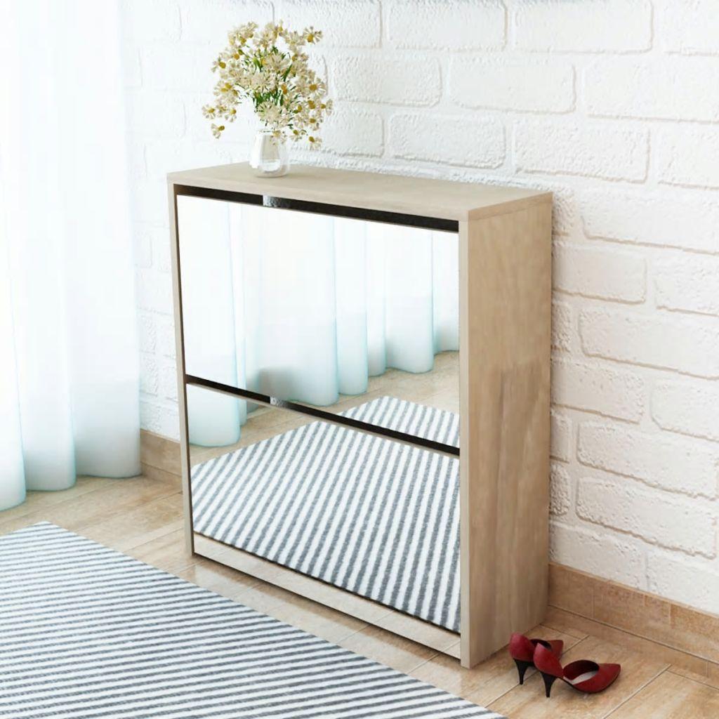 vidaXL Pantofar cu oglindă 2 niveluri, culoare stejar, 63 x 17 x 67 cm