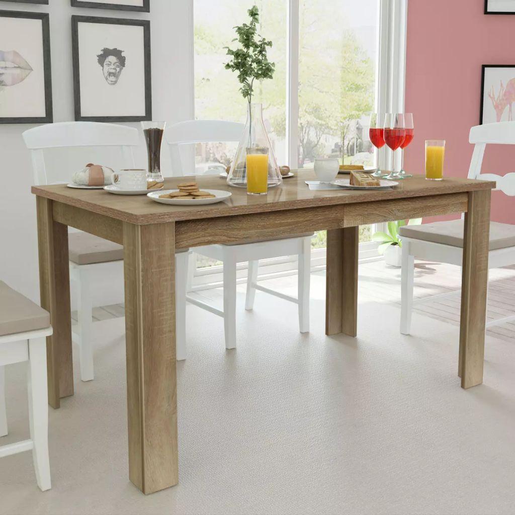 vidaXL Masă de bucătărie, 140 x 80 x 75 cm, lemn de stejar