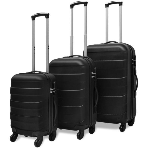 vidaXL Set valize rigide negre, 3 buc.