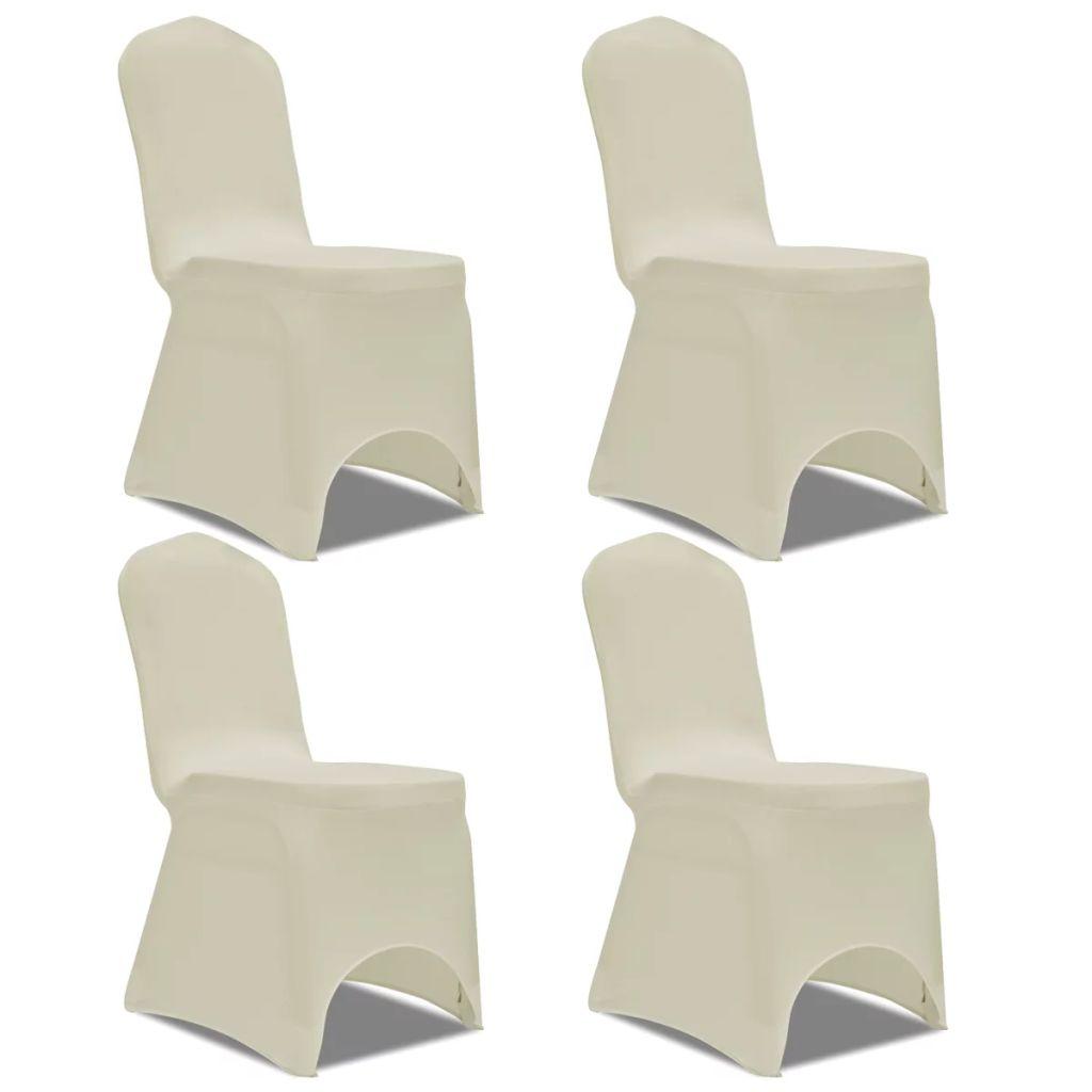 vidaXL Husă elastică pentru scaun, crem, 4 buc.