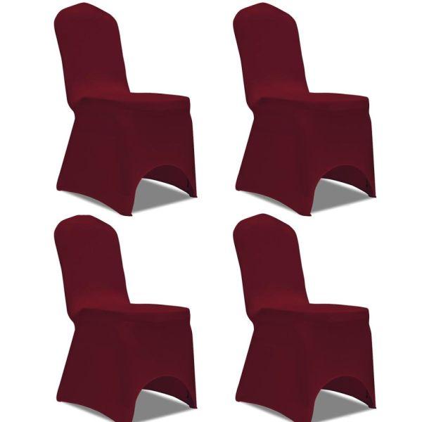 vidaXL Husă elastică pentru scaun, bordo, 4 buc.