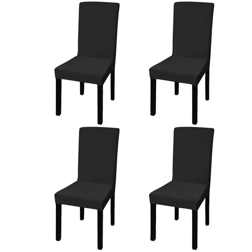 vidaXL Husă elastică dreaptă pentru scaun, negru, 4 buc.