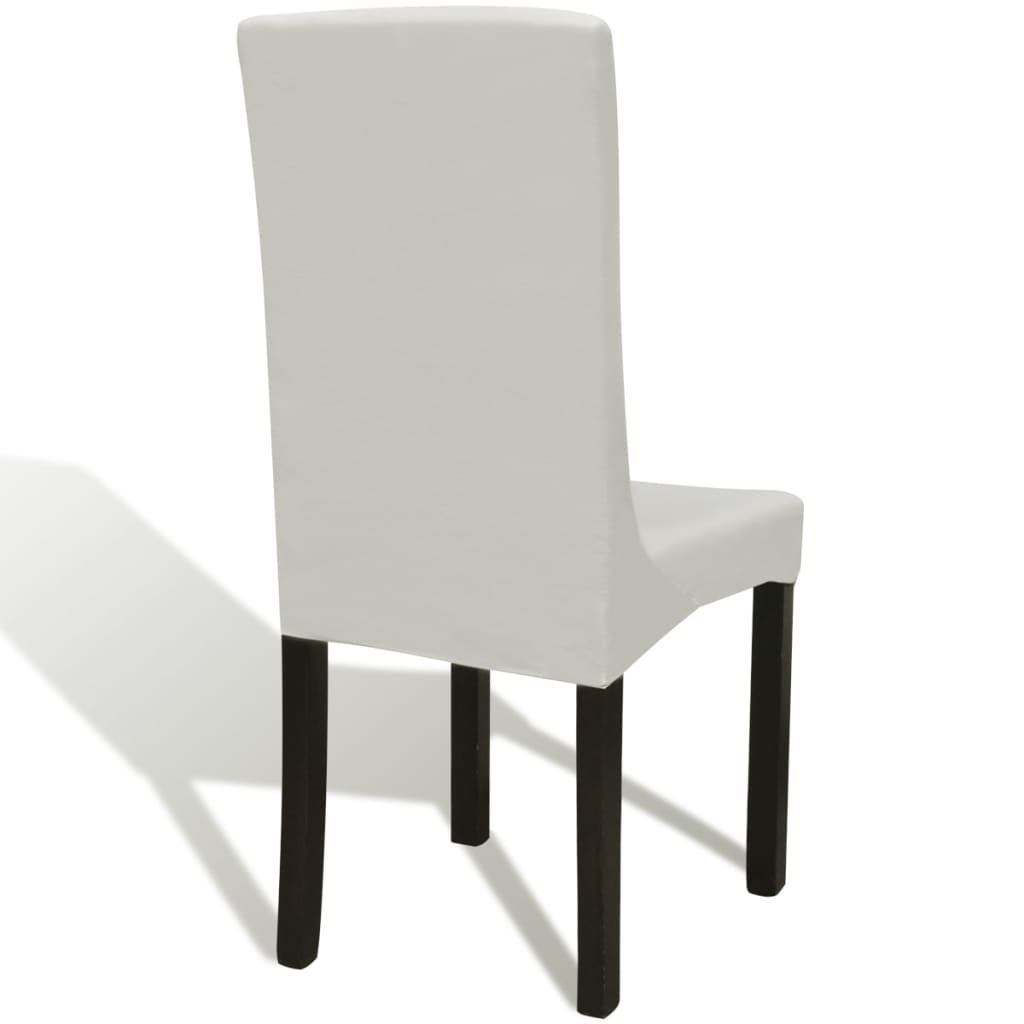 Husă elastică dreaptă pentru scaun, crem, 4 buc.
