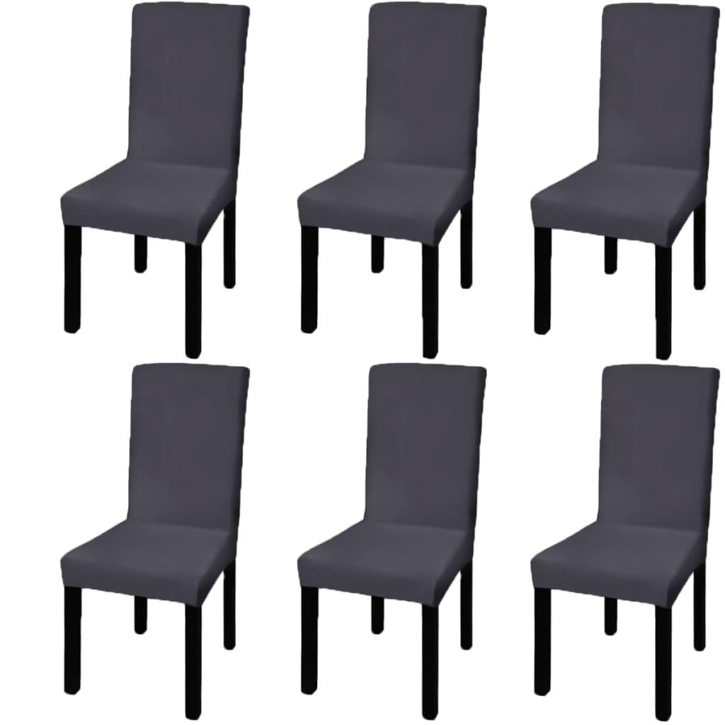 vidaXL Husă elastică pentru scaun, antracit, 6 buc.