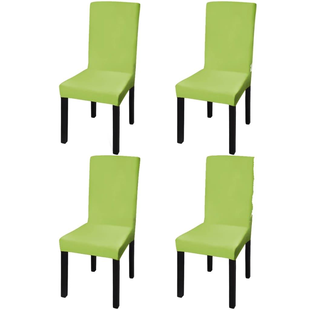 vidaXL Husă elastică dreaptă pentru scaun, verde, 4 buc.