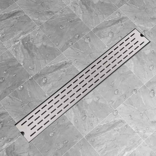 vidaXL Rigolă duș liniară din oțel inoxidabil, model linie, 830×140 mm