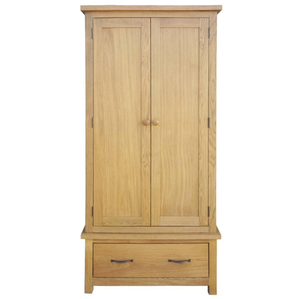 Șifonier cu un sertar, 90 x 52 x 183 cm, lemn masiv de stejar