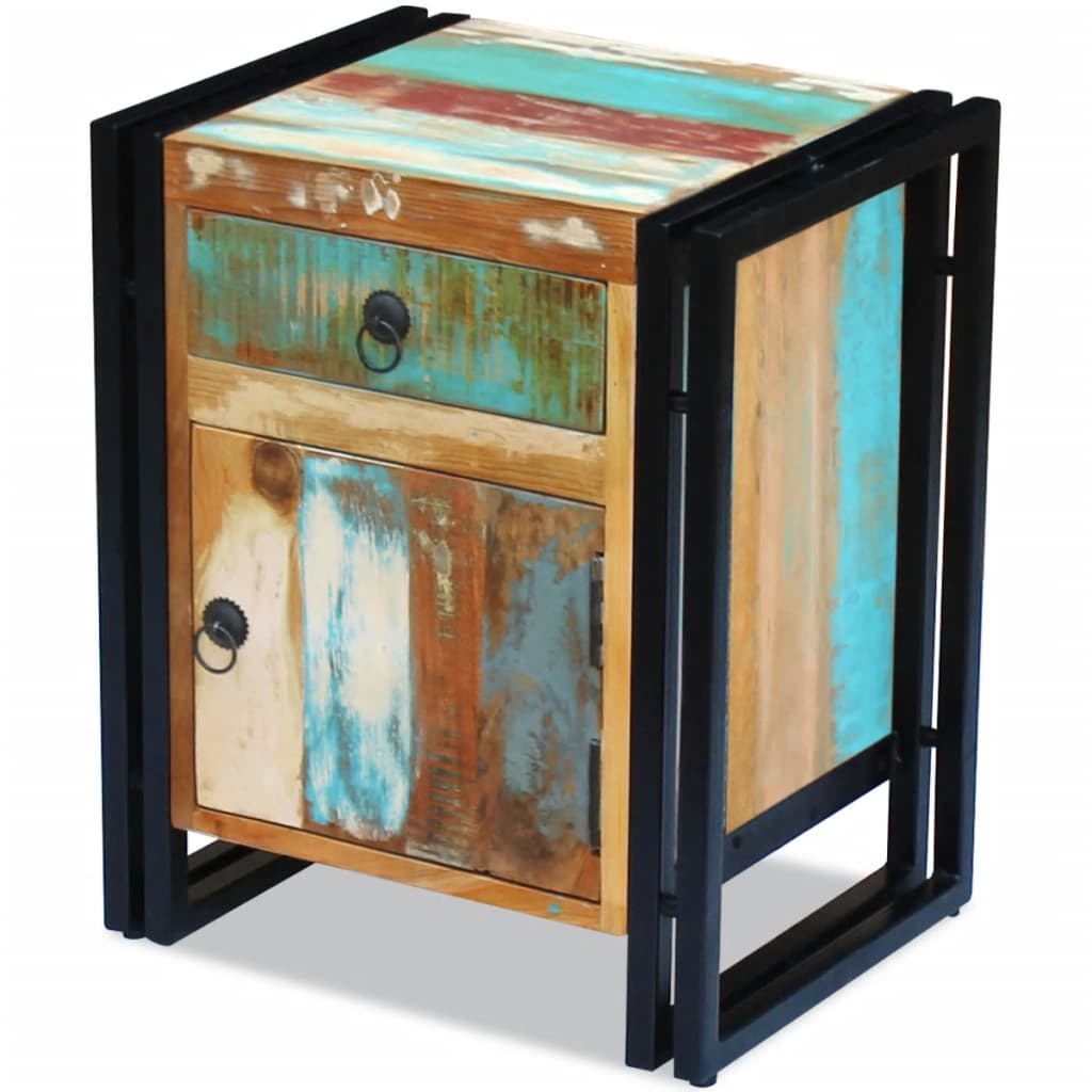 vidaXL Noptieră din lemn reciclat de esență tare
