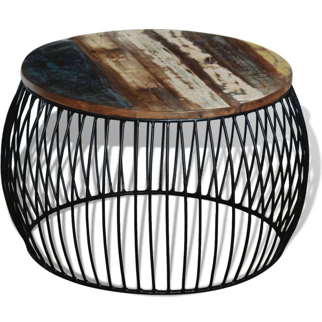 Masă de cafea rotundă, lemn reciclat de esență tare, 68×43 cm