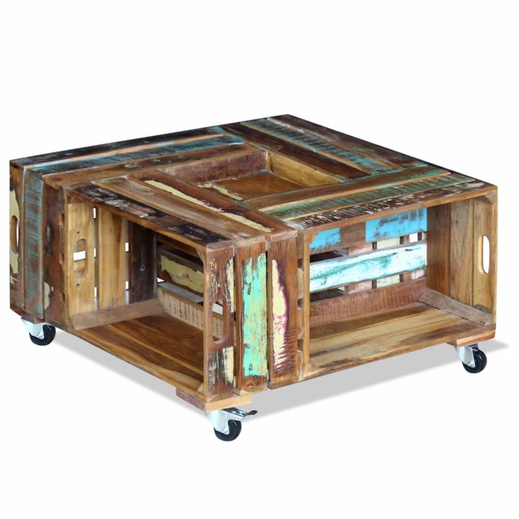 vidaXL Masă de cafea din lemn solid reciclat, 70 x 70 x 35 cm
