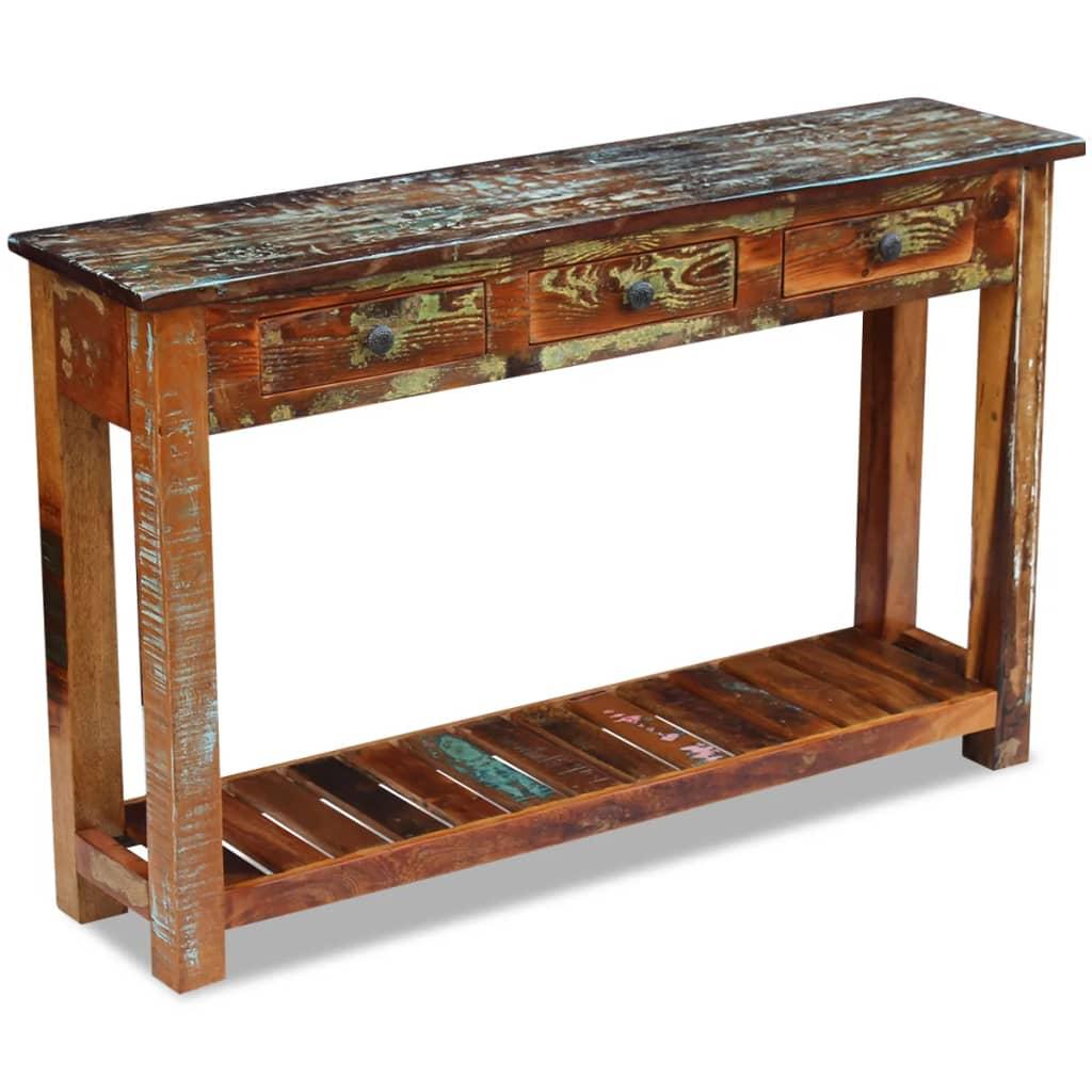 Masă consolă, lemn reciclat de esență tare, 120x30x76 cm