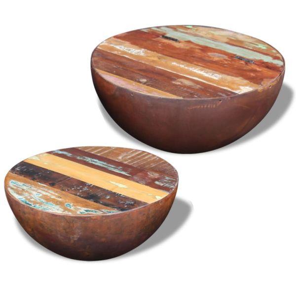 vidaXL Masă de cafea din lemn reciclat de esență tare, 2 buc.