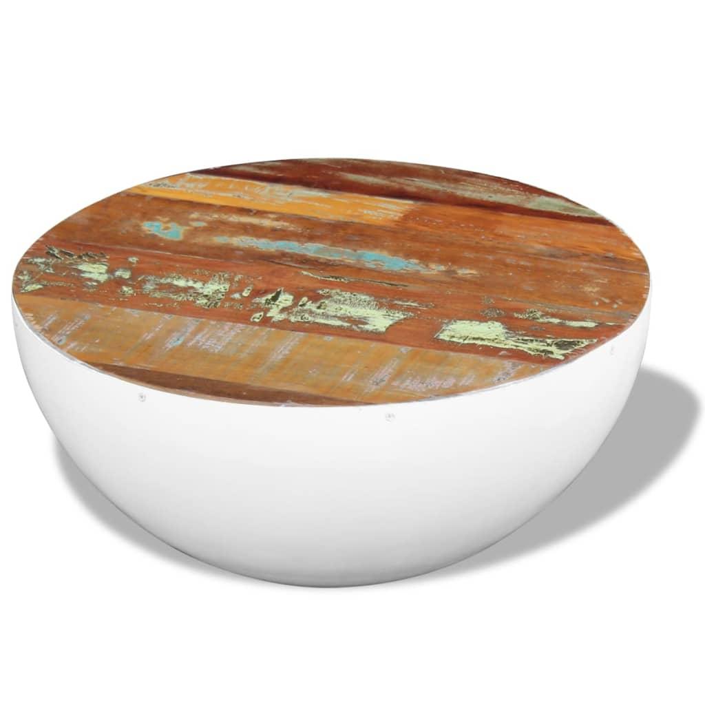 vidaXL Masă de cafea, formă bol, lemn reciclat esență tare, 60x60x30cm