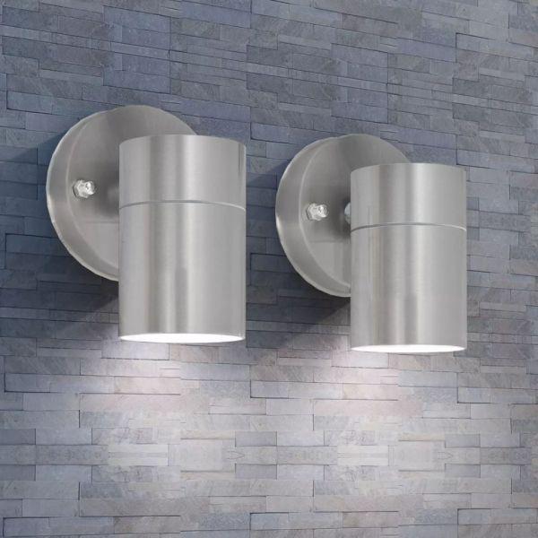 vidaXL Corp iluminat perete exterior 2 buc, oțel inoxidabil, jos